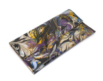 Leather Marbled Clutch Bag, Multicoloured Abstract Bag in 'Fanfare' Design, Handmade