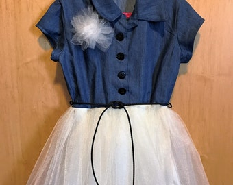 Cutest Dress Ever!  100 Percent Handmade. Denim and Tulle together. Size 4-5.