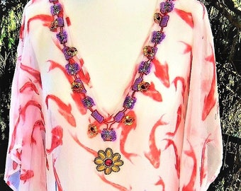 Tunic 36 38 40 42 Freesize embroidered white red purple chiffon one size