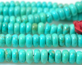 15 inches of Turquoise smooth rondelle beads in 2x4mm