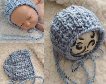 Newborn knit tweed look round back bonnet,photo prop,gift,coming home,ready to ship