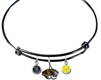 Missouri Tigers COLOR EDITION Wire Charm Expandable Bangle Bracelet w/ Black & Gold Crystal Rhinestone Charms - Pick Your Color