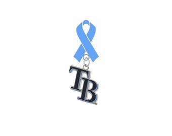 Tampa Bay Rays Style 2 Prostate Cancer Awareness Fathers Day LAPEL PIN Light Blue Ribbon