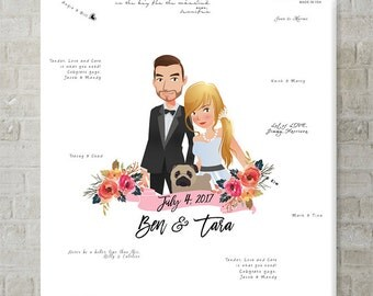 Custom Guest Book Wedding Guest Book Alternative, Wedding Portrait Wedding Signs Wedding Gift for Bride, Personalized Gift Guest Book Ideas