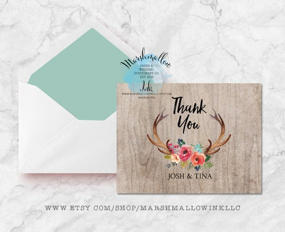 Wedding Gift Thank You Cards Pack : Thank You Card Set Printable Wedding Thank You Cards Flower