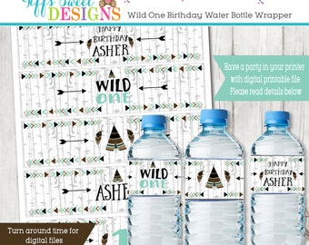 Boys Wild One Tribal Birthday Party -   Water Bottle Wrapper - Tepee Water Bottle Label - Printable - Wild and THREE In TWO the wild