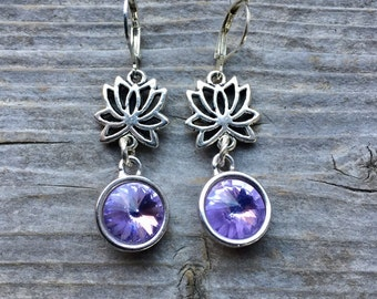 Swarovski Crystal Violet Rhinestone Earrings 10mm With Lotus Charms