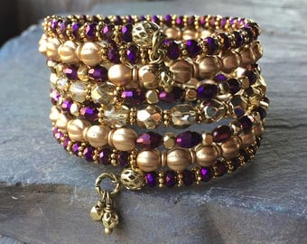 Golden Royal Majesty Multi Strand Memory Wire Coil Bracelet With Matching Charm Dangles