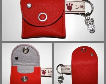 """Dog tags / chip bag """"red / grey"""""""