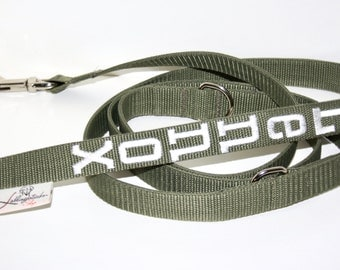 Dog leash 2m adjustable embroidered olive green white