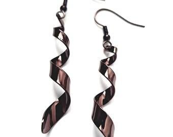 Brown Spiral Earrings