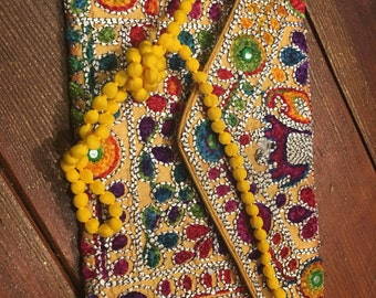Fair Trade Deluxe Embroidered Clutch Bag Yellow/Gold