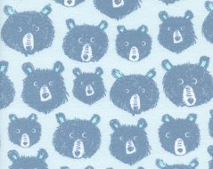 Teddy and the Bears in Blue- Cozy-Brushed Cotton Twill- Sarah Watts for Cotton and Steel