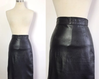 Black Leather Skirt / Vintage Leather Skirt / Leather Pencil Skirt / 1970s Leather Skirt /