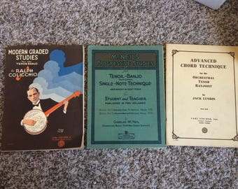 Lot of 3 Vintage Banjo Instruction Books (1927-1940) - good used condition - 3 sold together as a set