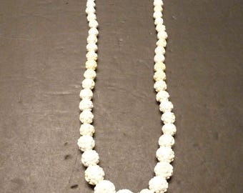 25% OFF -White carved Celluloid Rose Graduated Bead Necklace - Vintage - Choice