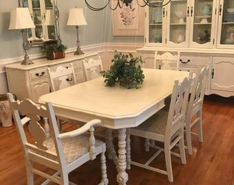beautiful antique dining table with six chairs painted white distressed - Antique Dining Table