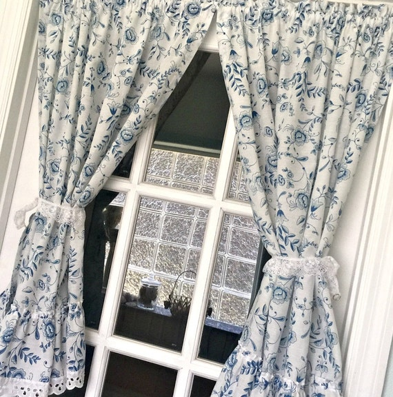 Cafe Window Curtains Blue & White Floral Curtains French