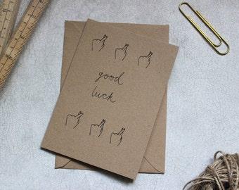 Hand drawn Good Luck Greetings Card. Fingers Crossed. Brown Kraft Card. Hand lettering. (Blank Inside)
