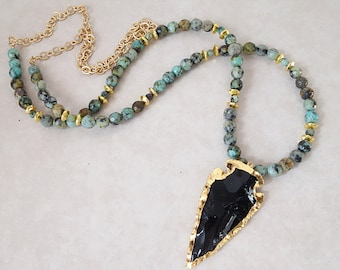 Boho glam african turquoise and obsidian arrowhead necklace-Bohemian chic long gold dipped arrow head pendant statement gemstone necklace