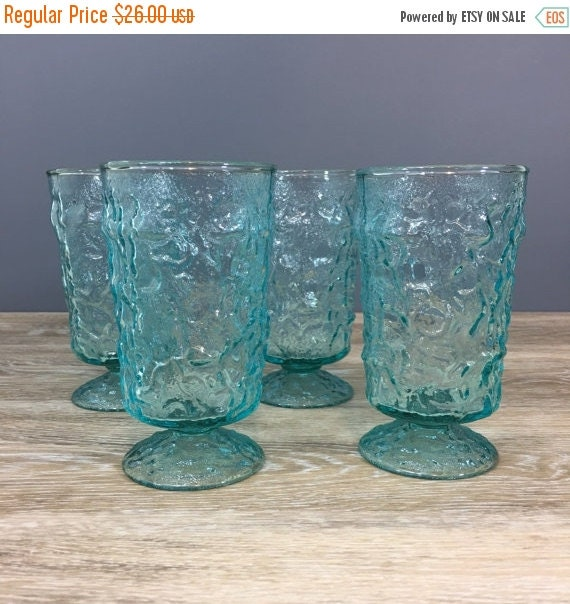ON SALE Aquamarine Anchor Hocking Lido Footed Glasses, Water Glasses, Vintage Retro Glass Drinkware, Table Setting Decor