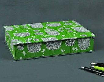 Box box, jewelry box, jewelry box, desk, fabric covered, wedding card box, Green Black graphic box, green black
