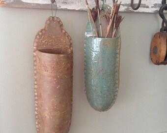 Large Stoneware Ceramic Wall Pocket /Planter