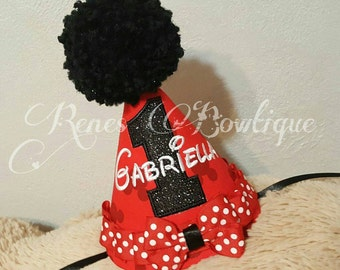 Minnie Mouse Birthday Party Hat | Birthday Party Outfit | Red and Black