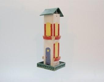 Victorian house bird feeder, ceramic white,green and red glaze OOAK