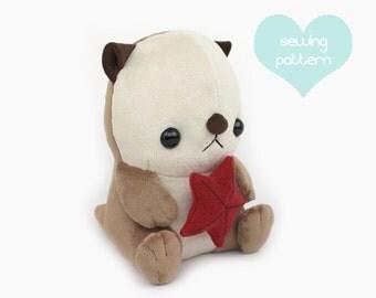 "PDF sewing pattern - Sea otter plush stuffed animal tutorial with videos - easy cute kawaii large sitting chibi anime plushie 10"" TeacupLion"