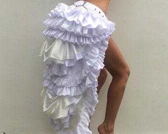 SALE White Bustle Skirt / gypsy goddess / steam punk / festival / burning man / costume