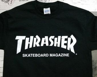 Thrasher shirt T-shirt tshirt magazine logo skater skateboard 80s retro clothing