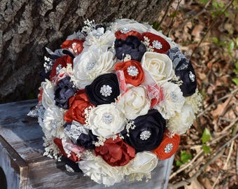 Wedding Bouquet Brooch Bouquet Navy Coral Bouquet Wedding Bouquet Sola Bouquet Navy Coral Bouquet Rustic Bouquet Navy Coral Navy Bouquet