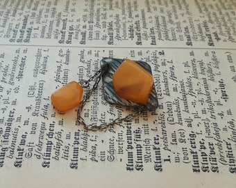 Old real Baltic amber pin brooch, egg yolk color amber, butterscoch genuine amber brooch