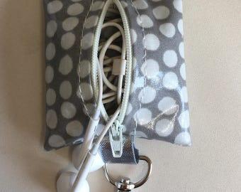 Earbud case,Headphone case,Earphone organiser,Earbud keychain,grey spotty oilcloth