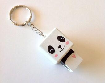 """Porte-clés Figurine cubique Kawaï """"Panda"""" - peinte à la main"""