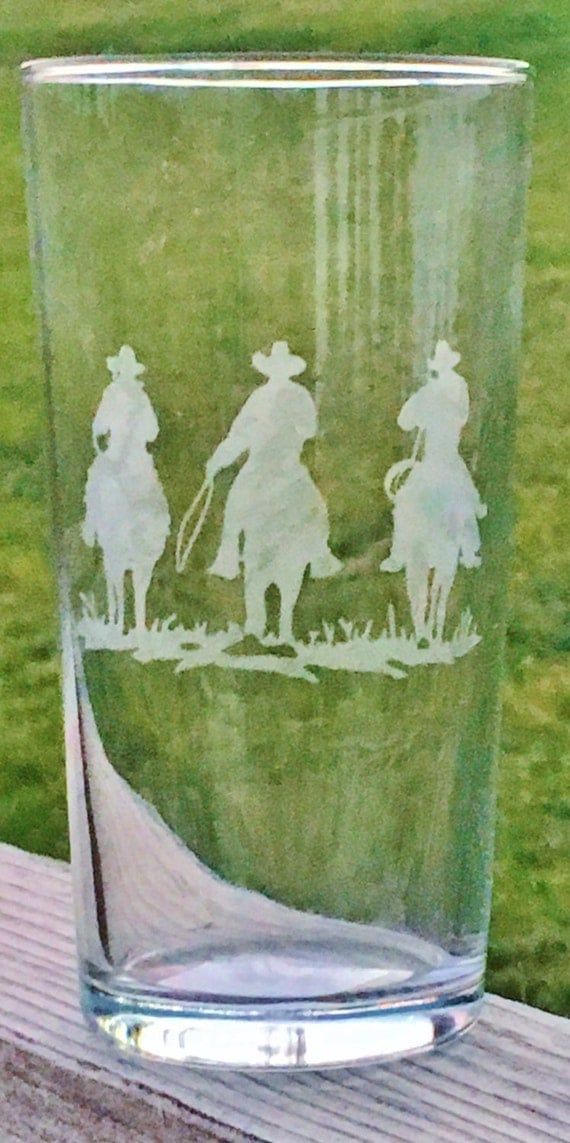 Etched Horse Glass, Etched Cowboy Glass, Etched Glass, Horse Gift, Horse, Drinking Glass, Wedding Gift