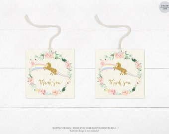 INSTANT DOWNLOAD /  Rosey Floral Unicorn Favor Tag - Printable Digital File - Hang Tags, Thank You Tag, Gift Tags - Magical Birthday
