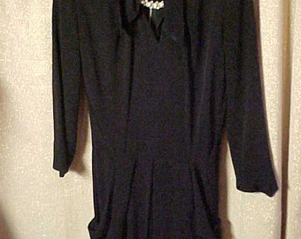 Vintage 1940s black crepe Dress,V Neck Collar w/rhinestone pin, two pockets and soft pleats in skirt   S/M #2111