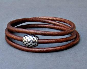 Wrap Bracelet, Leather Mens Bracelet, Boyfriend Gift, Husband Gift, Customized To Your Wrist