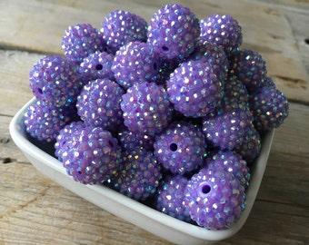 20mm Purple Rhinestone Chunky Bead, Bubblegum Bead, Acrylic Bead, DIY Chunky Necklace, 10 Count