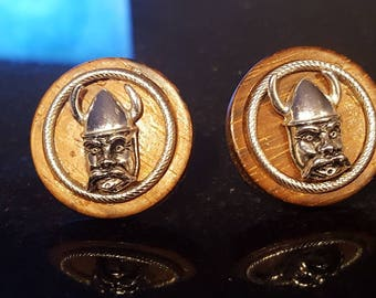 Swank Vintage Viking cufflinks wood Norse formal wedding  norseman Lot TT3