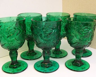 FENTON WILD ROSE Goblets in Emerald Green – Wine or Water – Heavyweight – Set of Six  But Will Divide the Set -
