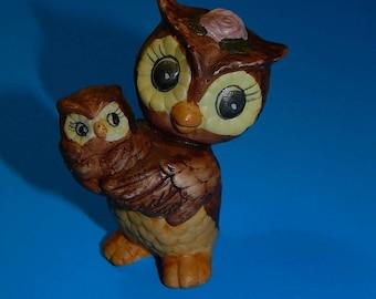 "2 3/4"" Porcelain Mother Owl + Baby Figurine Statue Korea"