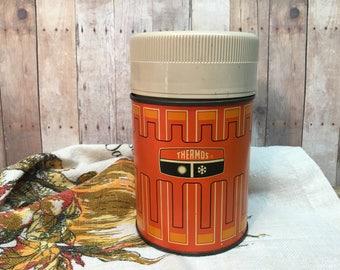 Vintage Thermos Bottle/Hot/Cold/Ten Ounce/Orange