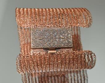 Copper Wide Wire Bracelet - Wire Knit Bracelet - Cuff Wire Bracelet
