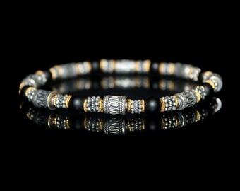 Men's Bracelet, Bracelet for Man, Onyx, Sterling Silver, and Gold Vermeil Bracelet, Man's Bracelet, Men's Beaded Bracelet, Bracelet