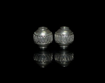 Two 14mm 925 Sterling Silver Barrel Beads, Two Large hole 14mm Sterling Silver Beads
