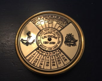 Vintage Perpetual Calendar - 1987-2086 - Navy Calendar - Anchor Decor