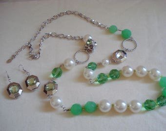 SUPER LONG Bead Necklace and Earring Set Pierced Green Lime and White Pearl